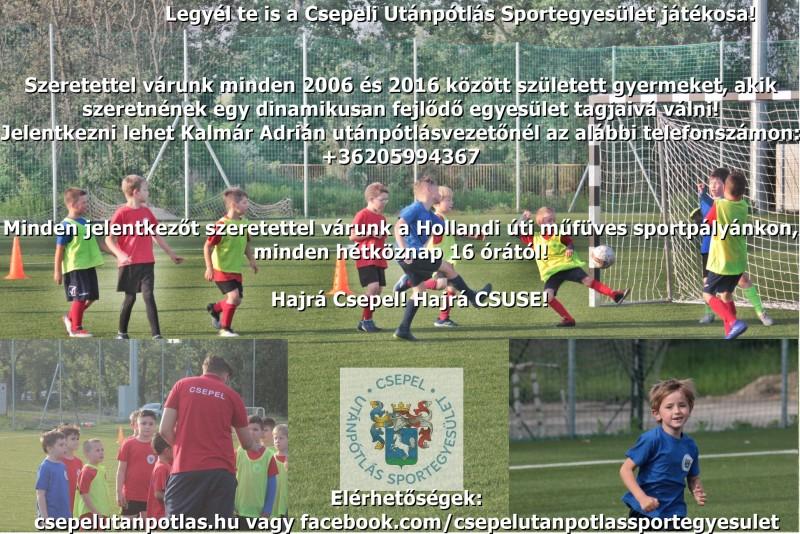 Legyél te is a Csepeli Utánpótlás Sportegyesület játékosa!
