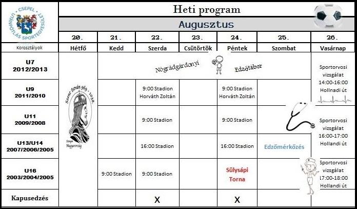 Edzéseink augusztus 20-tól
